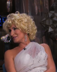 Sonja Morgan A la Marilyn Monroe for Cabaret Skit on WWHL with Andy Cohen