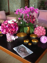 The expertly done table arrangement in my room at the Amanpuri resort.